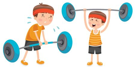 Kleine jongen die gewichthefoefening maakt