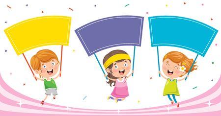 Little Kid  Holding Colorful Placard Illustration