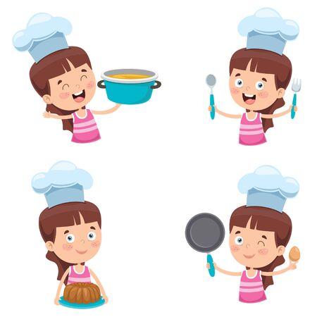 Heureux mignon petit chef cuisinier