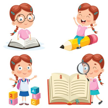 Little Student Studying And Reading