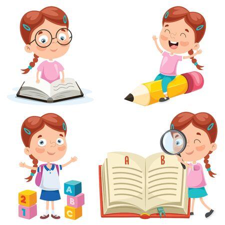 Piccolo studente che studia e legge