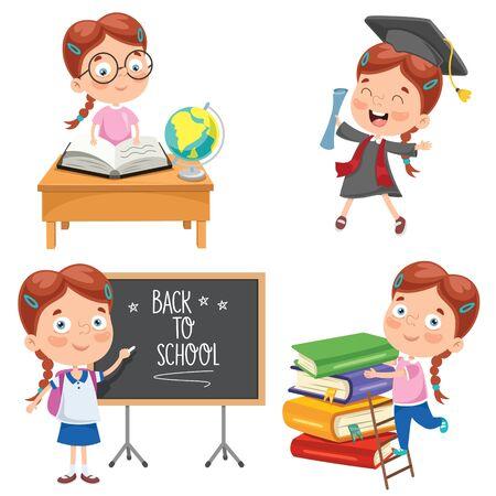 Kleiner Student, der lernt und liest