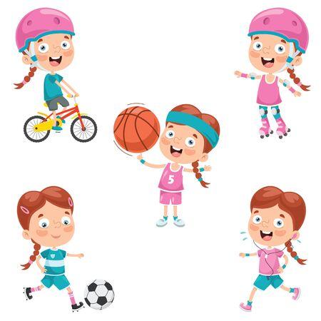 Little Girl Making Various Sports Vector Illustration