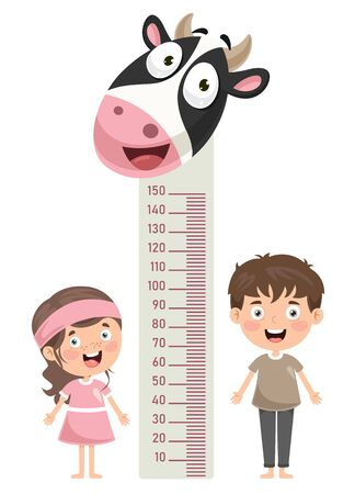 Height Measure For Little Children Vectores