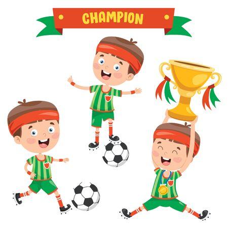 Little Kids Celebrating Championship Win Foto de archivo - 138047674