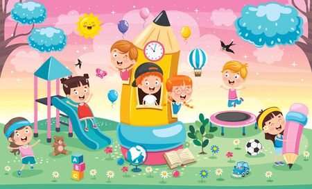 Cute Children Playing At Pencil House Vector Illustration
