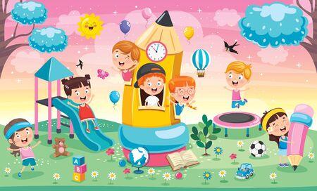 Słodkie dzieci bawiące się w domu ołówkowym Ilustracje wektorowe