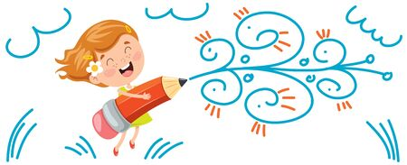 Concept Banner With Happy Kids Çizim