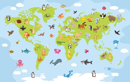 World Map With Cartoon Animals 向量圖像