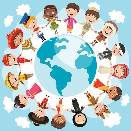 Cercle d'enfants heureux de différentes races