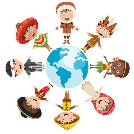 Kreis glücklicher Kinder verschiedener Rassen
