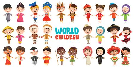 Multicultural Characters Of The World Illustration