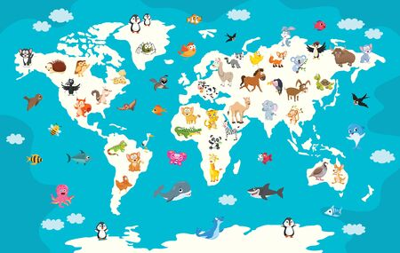 Mapa świata z kreskówkowymi zwierzętami