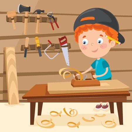 Carpintero de dibujos animados poco trabajando con maderas