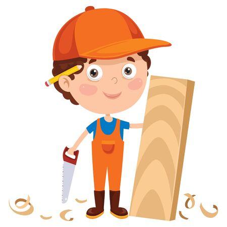 Little Cartoon Carpenter Working With Woods