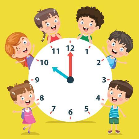 Little Children Holding A Clock