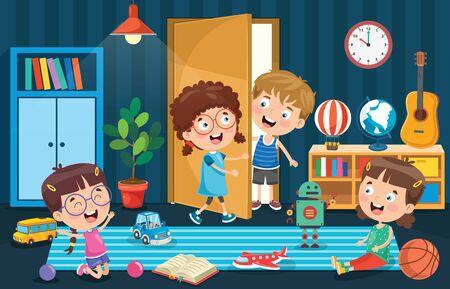 Kleine Kinder spielen im Zimmer