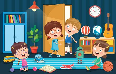 Little Children Playing At Room