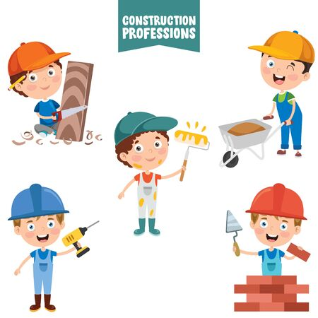 Cartoon Characters Of Construction Professions