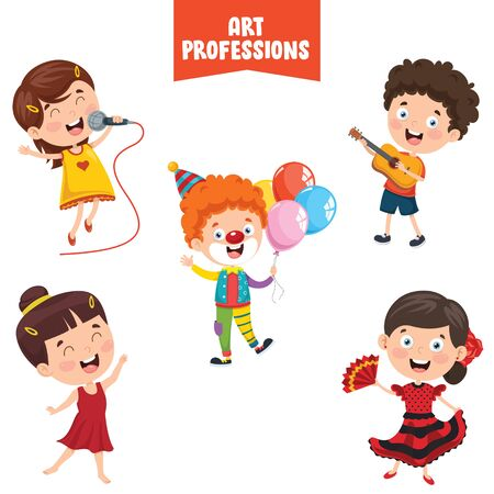 Cartoon Characters Of Art Professions Vettoriali