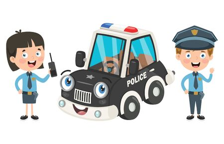 Cartoon Characters Of Male And Female Police Officers