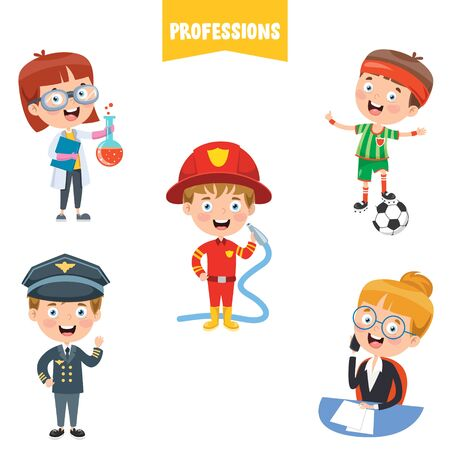 Cartoon Characters Of Different Professions Vektorové ilustrace