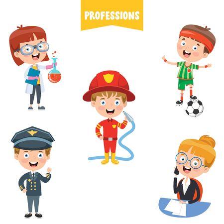 Personnages de dessins animés de différentes professions Vecteurs