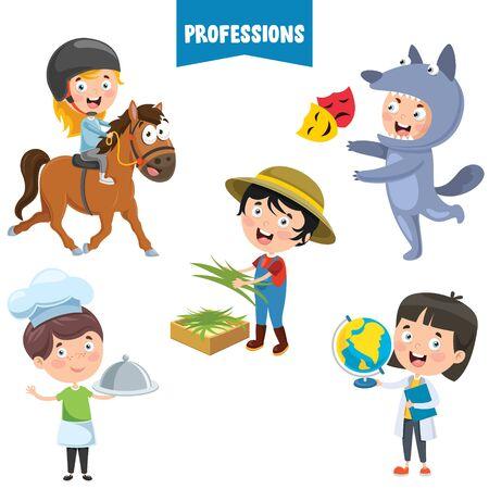 Cartoon Characters Of Different Professions Ilustración de vector