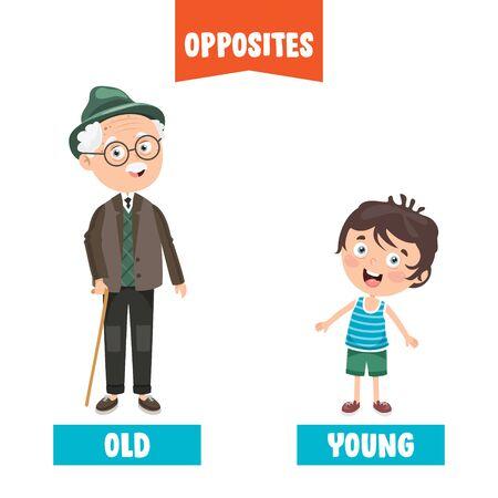 Opposite Adjectives With Cartoon Drawings Vecteurs