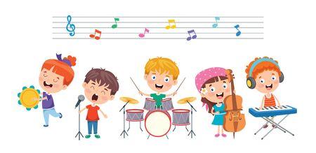Funny Little Kids Performing Music Vector Illustration