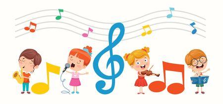 Funny Little Kids Performing Music Vettoriali