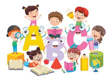 Education Concept Design With Little Children Vektorové ilustrace
