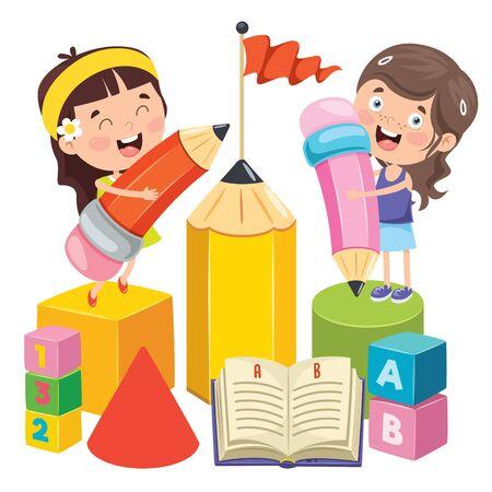 Concept Design For Children Education Vector Illustration