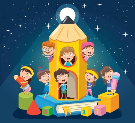Education Concept Design With Little Children Illustration
