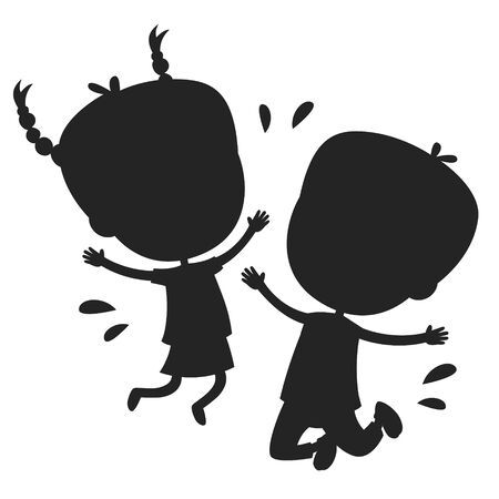 Concept Design With Kids Silhouette Stock Vector - 141827199