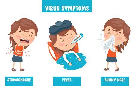 Little Kid Infected By Virus Vector Illustration