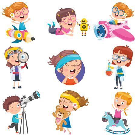 Personajes de dibujos animados haciendo diversas actividades