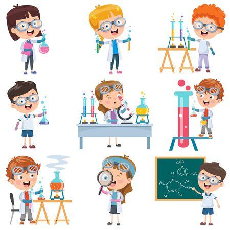 Little Students Doing Chemistry Experiment Vettoriali