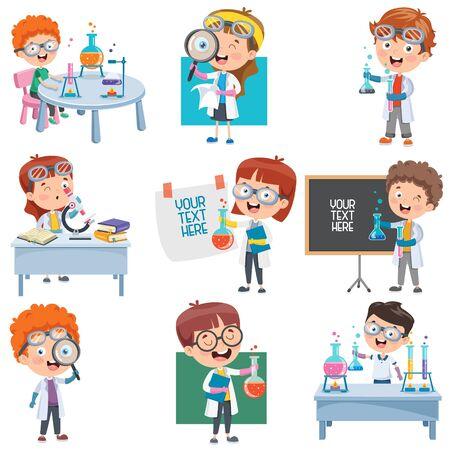Kleine Schüler beim Chemieexperiment