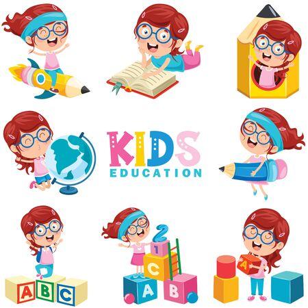Little Girl Doing Various Educational Activities Vettoriali