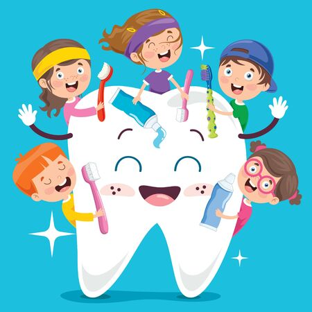Brushing Teeth Concept With Cartoon Character Zdjęcie Seryjne - 142523911