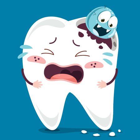 Brushing Teeth Concept With Cartoon Character Ilustracja