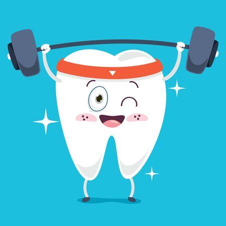 Brushing Teeth Concept With Cartoon Character Ilustração