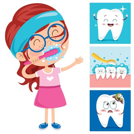 Brushing Teeth Concept With Cartoon Character Zdjęcie Seryjne - 142523944