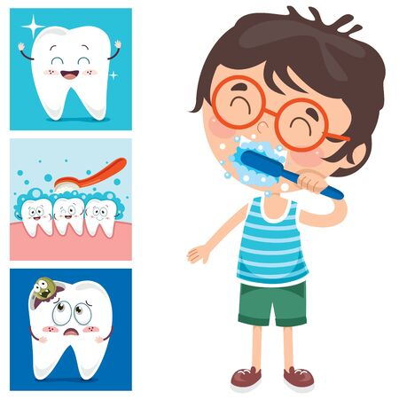 Brushing Teeth Concept With Cartoon Character Zdjęcie Seryjne - 142523946