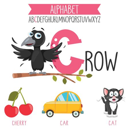 Illustrated Alphabet Letter And Cartoon Objects Illustration