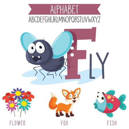 Illustrated Alphabet Letter And Cartoon Objects Illusztráció