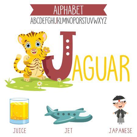 Illustrated Alphabet Letter And Cartoon Objects Vektoros illusztráció