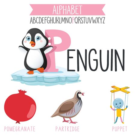 Illustrated Alphabet Letter And Cartoon Objects Vettoriali