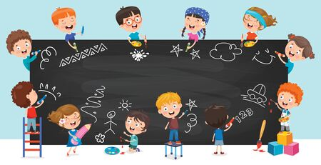 Happy Children Drawing On Blackboard